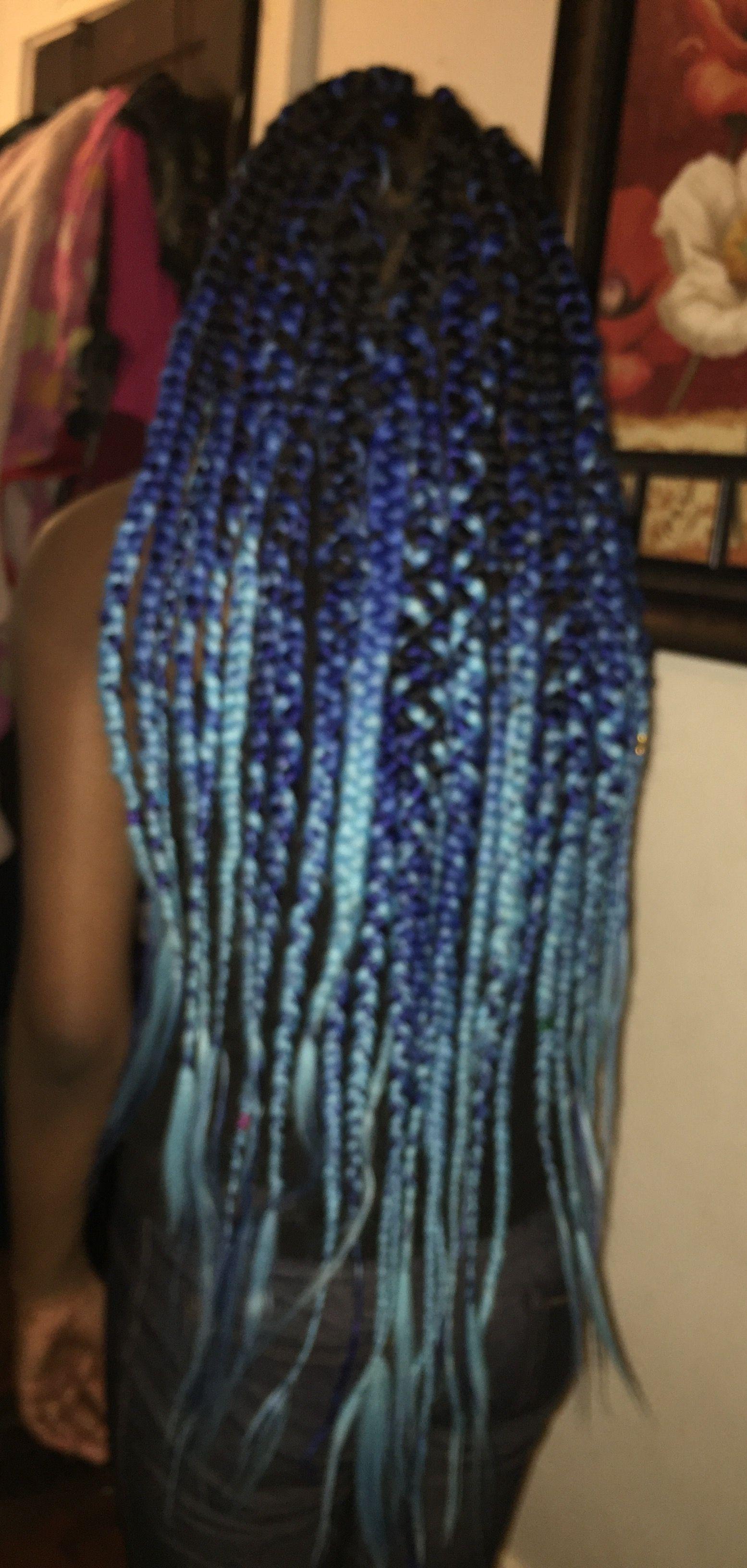 Beautiful Black Dk Blue Light Blue Ombre Jumbo Box Braids With