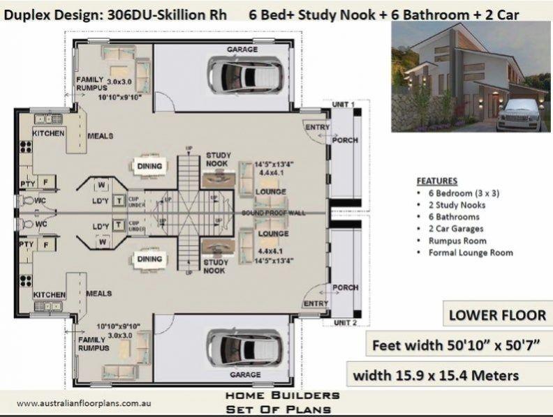 Duplex House Plan 3405 Sq Foot 316 4 Sq Meters 6 Bed Etsy In 2020 Duplex House House Plans Duplex House Plans