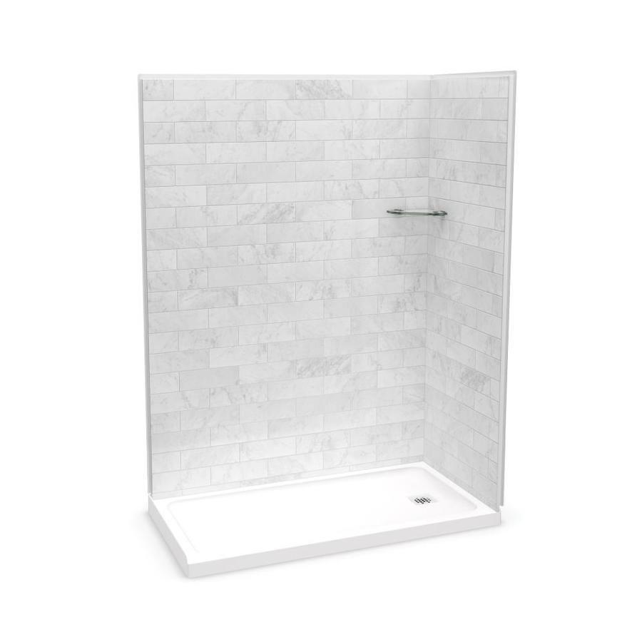 Maax Utile Marble Carrara Fiberglass Plastic Composite Wall Floor