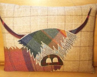 Handmade Highland Cow Cushion Templates Applique
