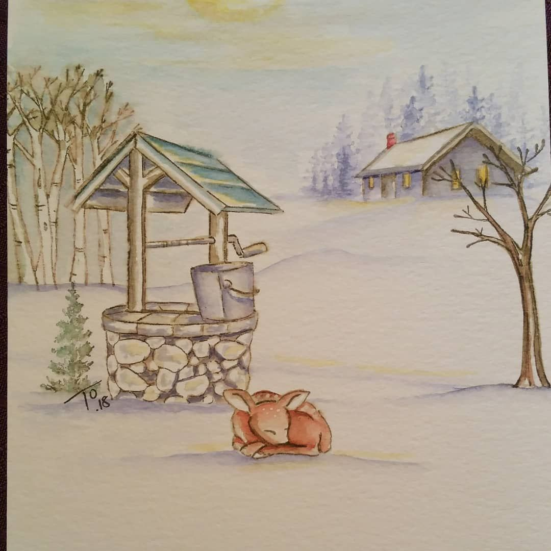 Art Impressions Handmade Watercolor Card Wishing Well Deer