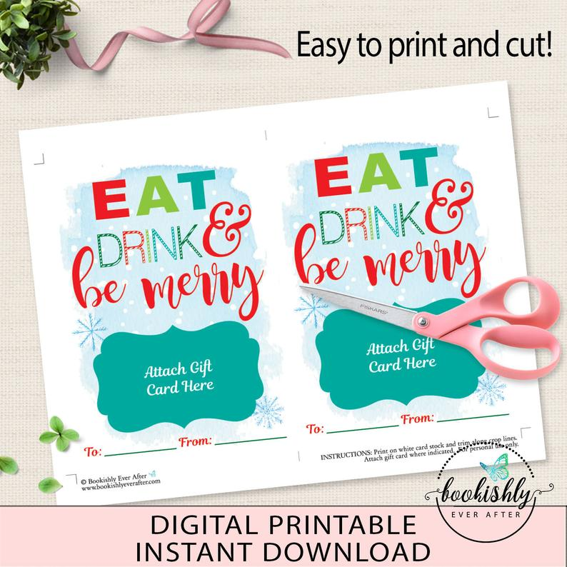 Photo of PRINTABLE Christmas Gift Card Holder, Eat Drink & Be Merry, Coffee Gift Card Holder, Teacher Gift Download, Bookishly Ever After, BEA901
