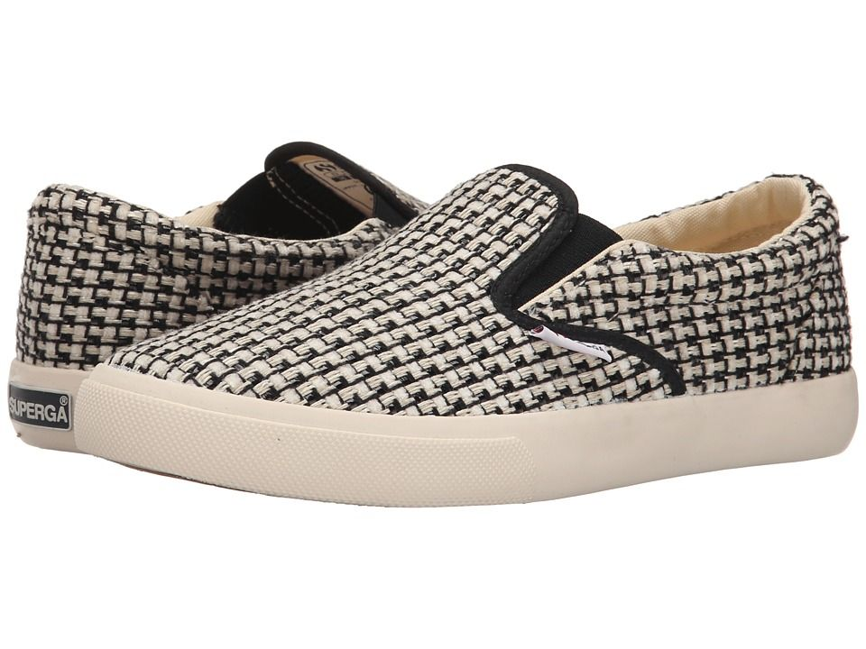 Womens Shoes Superga 2311 Waved Tweed Black/Off White