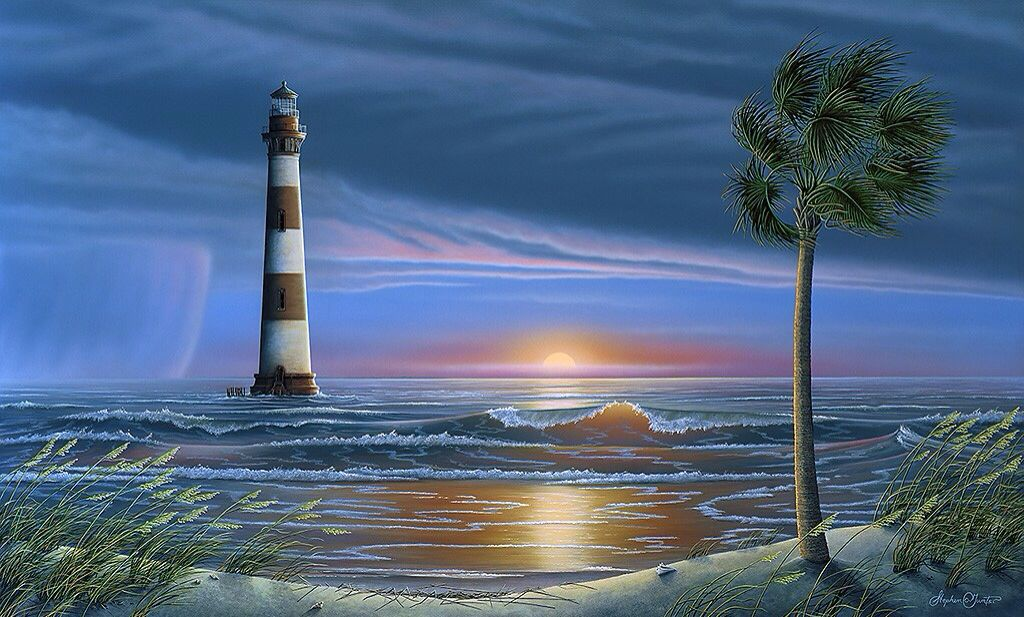 Morris Island Lighthouse Painting Places Pinterest