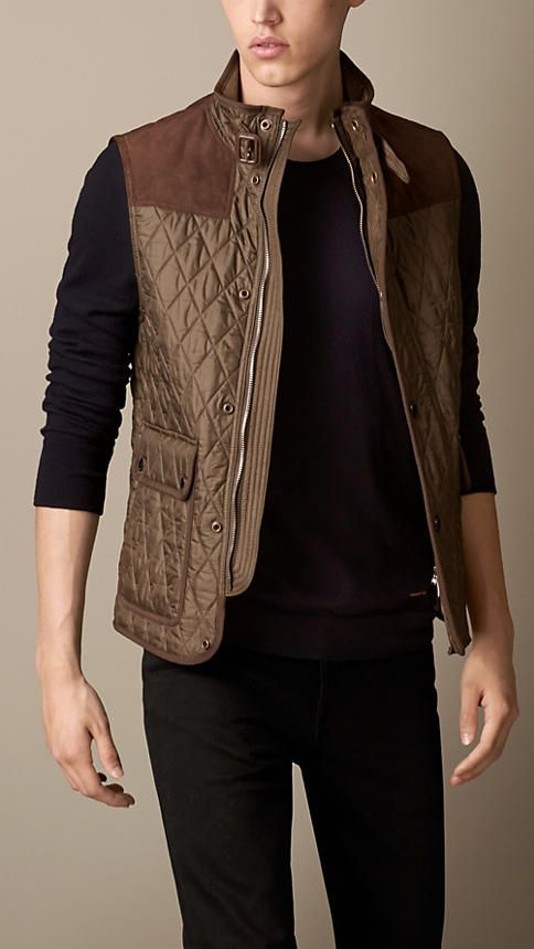 413400cf6 Burberry Brit Diamond Quilt Gilet with Suede Trim | Mens Fashion in ...