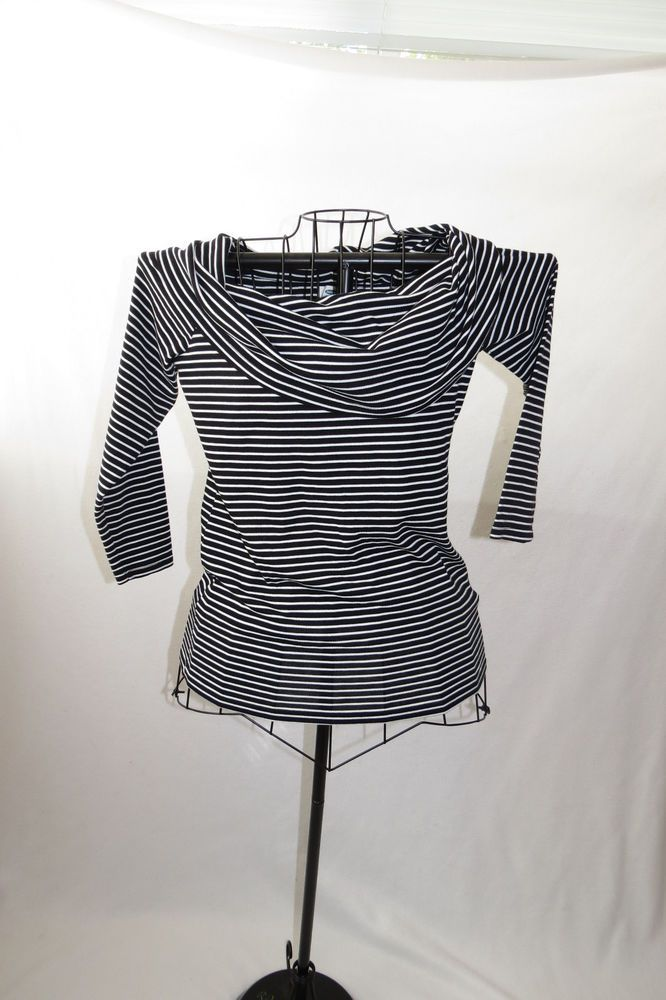 62c301e7d0c4 Womens Old Navy Black White Stripes Cowl Neck Long Sleeve Top Shirt Large L   OldNavy  Blouse