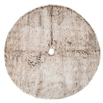 Brown & Cream Faux Fur Tree Skirt | Faux fur tree skirt ...