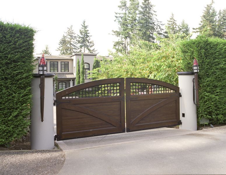 Double Swing Driveway Gate With Clad Solid Teak Lumber