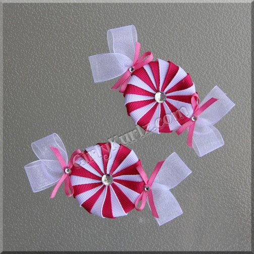 Hot Pink Peppermint Candy Ribbon Sculpture Hair Clip by GirlyKurlz