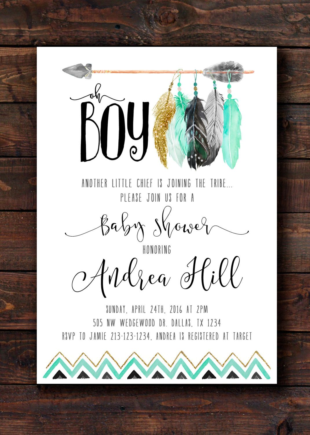 Tee Pee Aztec Tribal Southwest Baby Shower Sprinkle Invitation ...