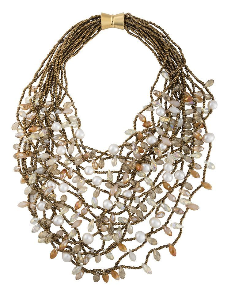 Multi Strand Beaded Collar Necklace