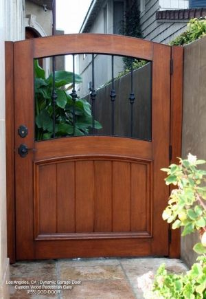 Custom Designed Garden Gate In Solid Wood Decorative Iron Work