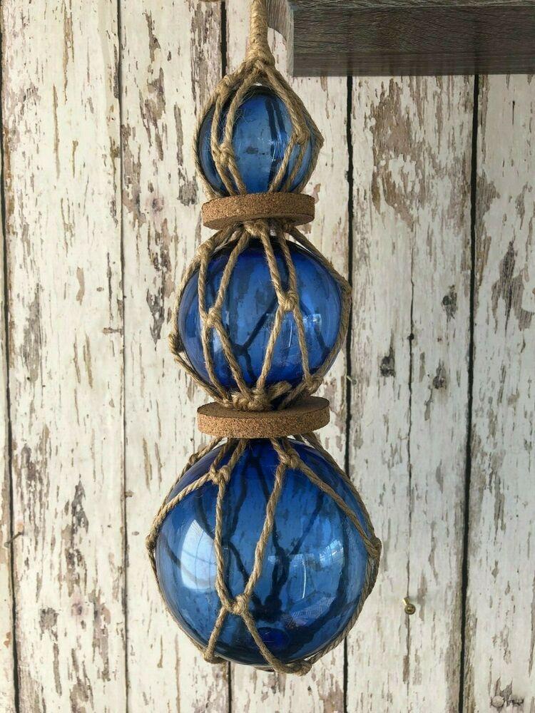 "Red - 3/"" Glass Curio Fishing Floats ~ Fish Net Buoy Decor ~ Blue Green 6"