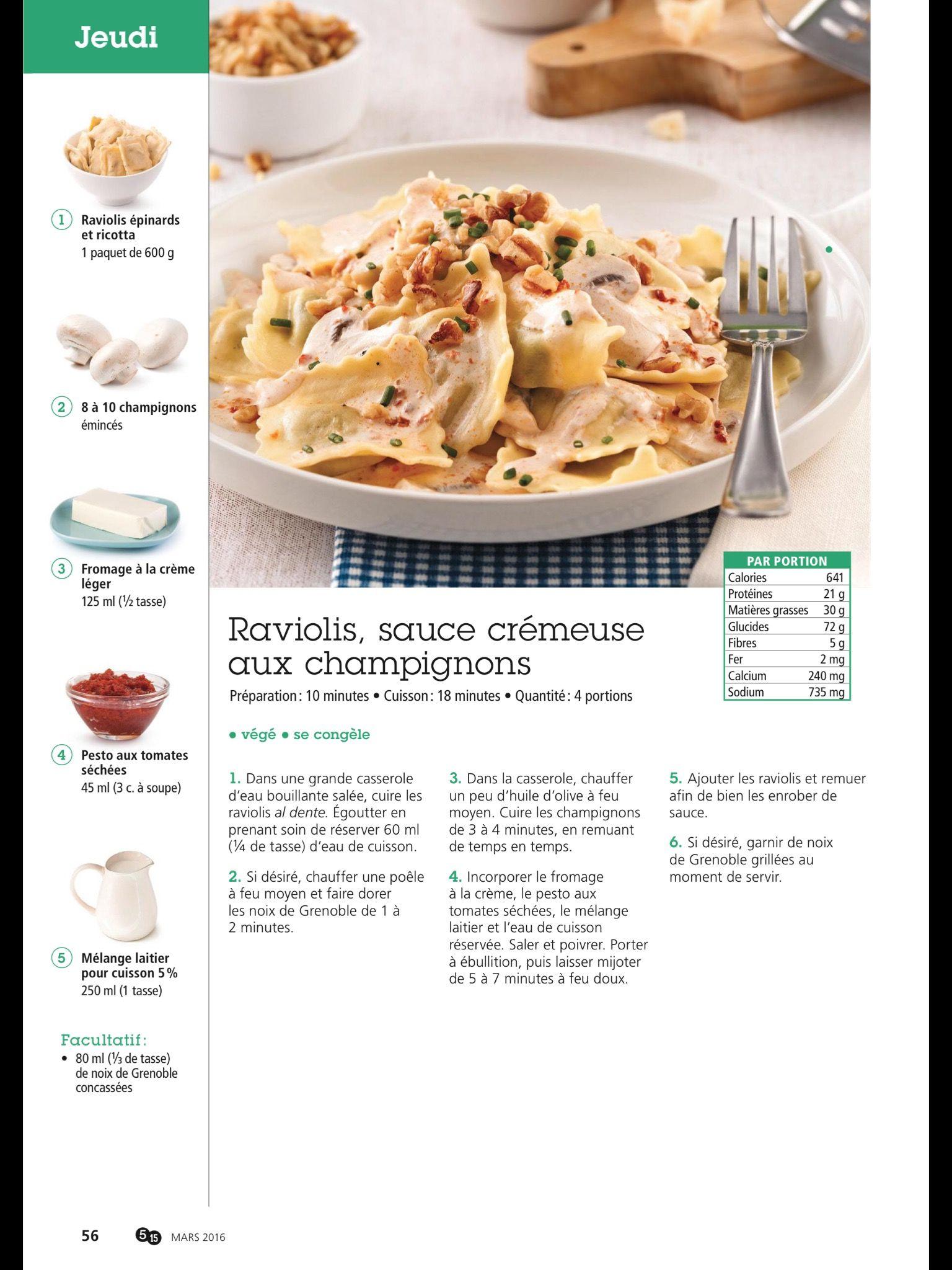 Raviolis, sauce crémeuse aux champignons