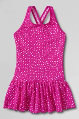 cbb4cc8263 Ive been searching for the perfect suit for the perfect girl. Girls' Smart  Swim Pattern Skirted One Piece Swimsuit from Lands' ...