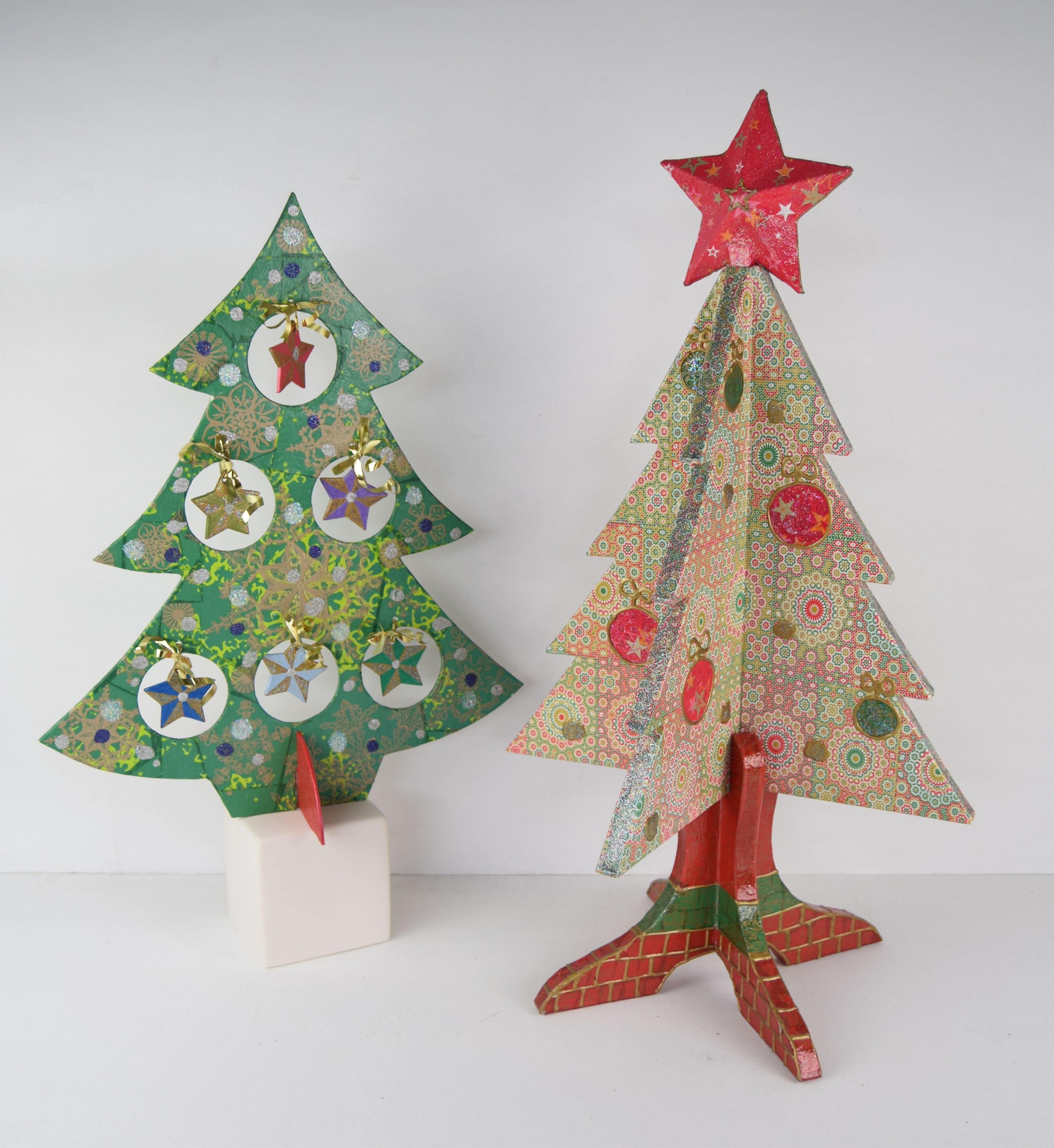 Papier mache Christmas trees. Papier mache seasonal assortment ...