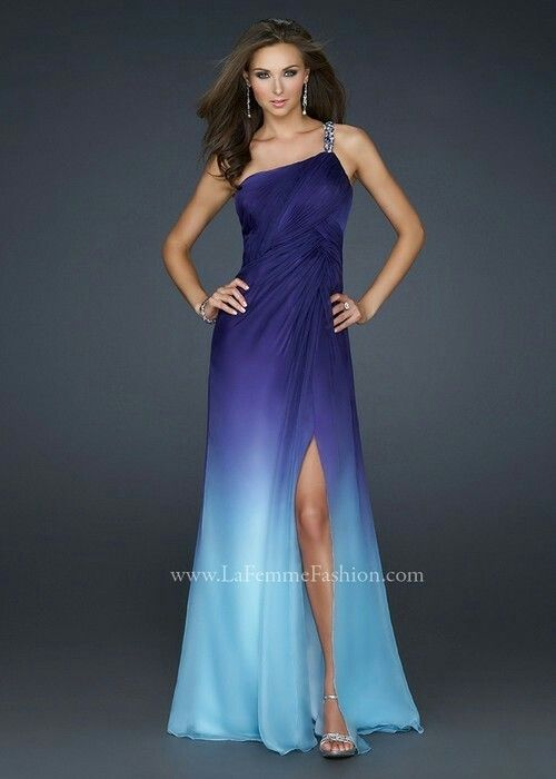 One Shoulder Purple And Blue Ombre Gown