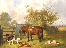 19th Century English Horse Dogs Setters After The Hunt Landscape Oil Painting