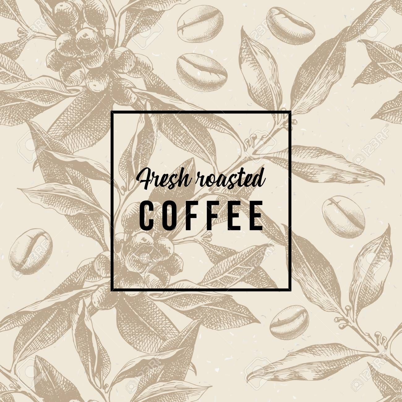 Seamles pattern with coffee plant, beans and type design