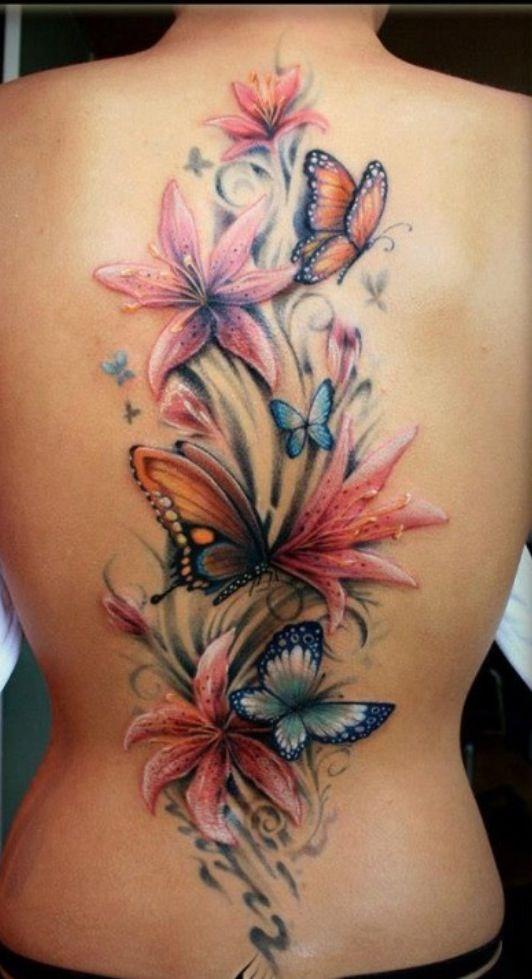 Explosion De Color Flores Y Mariposas En La Espalda Tatuajes De Flores Y Mariposas Tatuajes Falsos Tatuaje Mariposa 3d