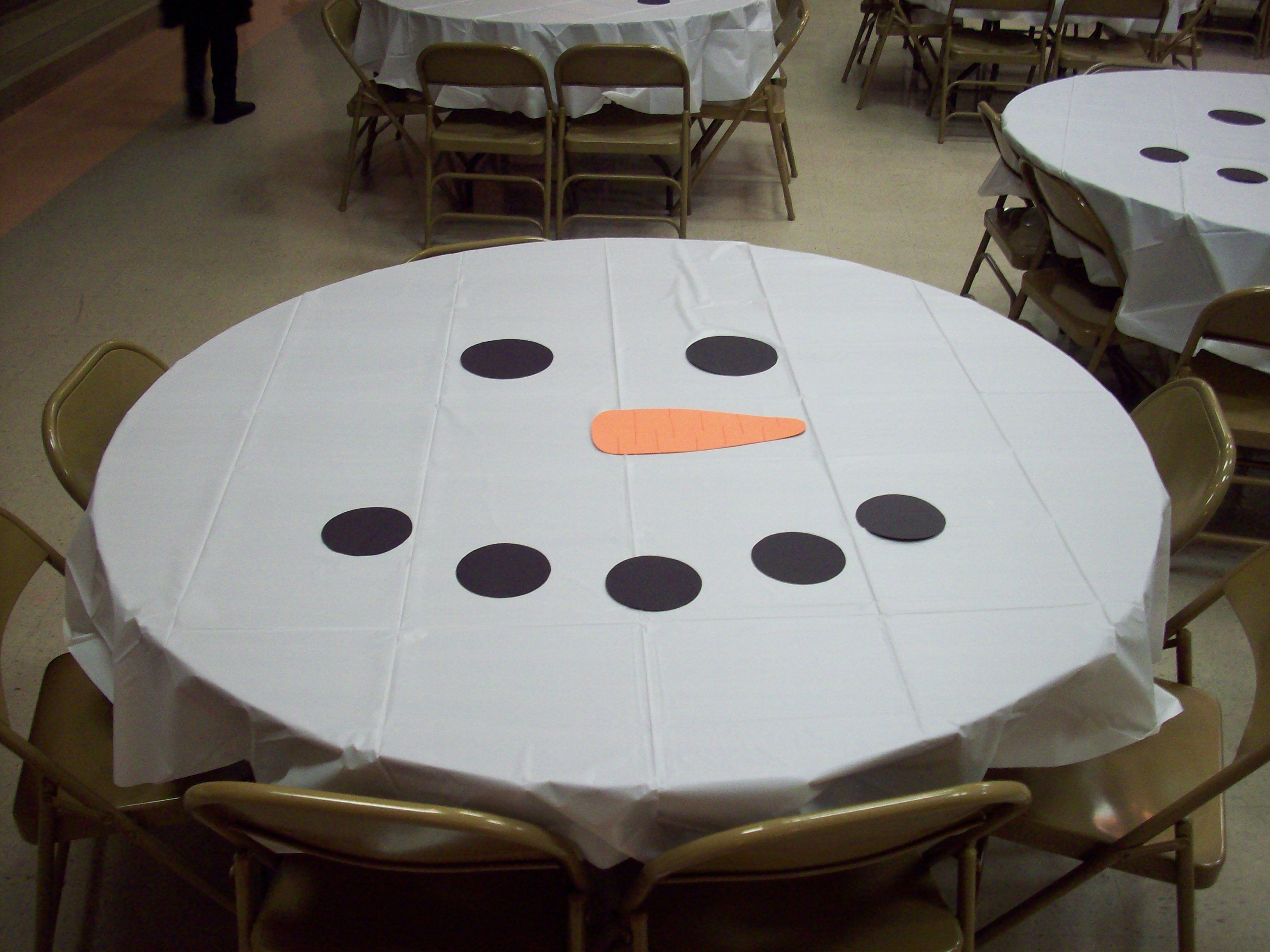 Cub Scout Christmas Party Ideas Part - 19: Super Easy Table Decorations For My Girl Scout Christmas Party... White  Tablecloth With