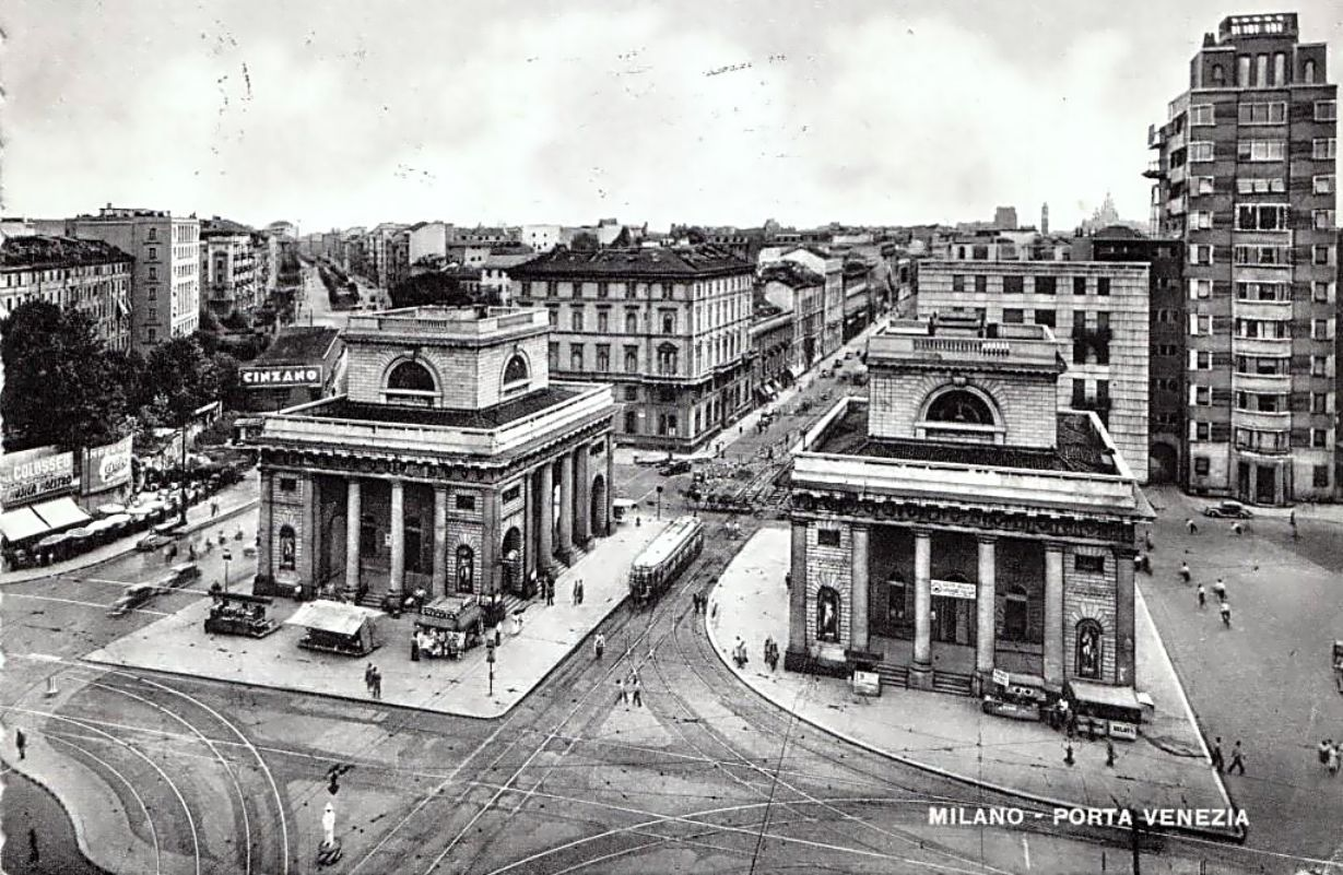 milano piazza oberdan e corso venezia anni 50 milano