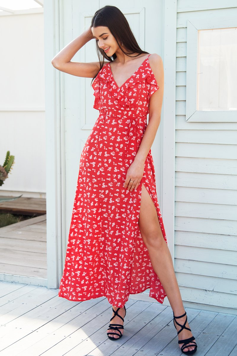 0abc130ee0c36 Casual Ruffle Split Summer Dress women Backless boho chic long dress 2018  Strap beach print maxi dress female vestidos Material: Polyester Style:  Bohemian ...