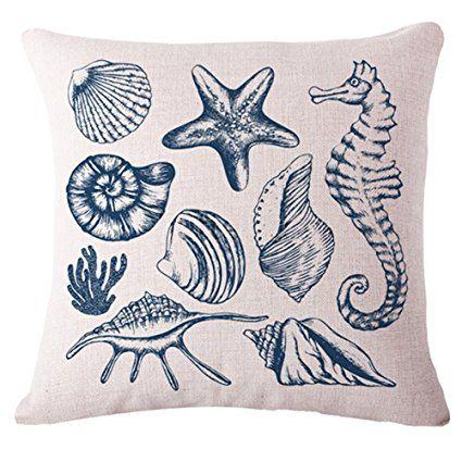 Sea World Printing Cushion Cover LivebyCare Linen Cotton Cover Throw Pillow Case Sham Pattern Zipper Pillowslip