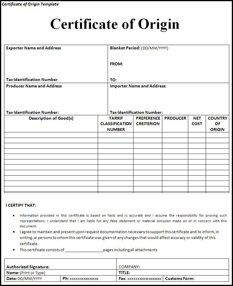 10  certificate of origin templates
