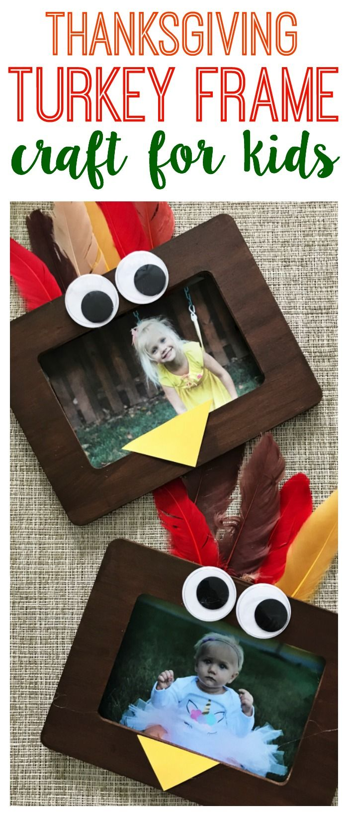 A Turkey Frame Craft - The Chirping Moms #thanksgivingcrafts
