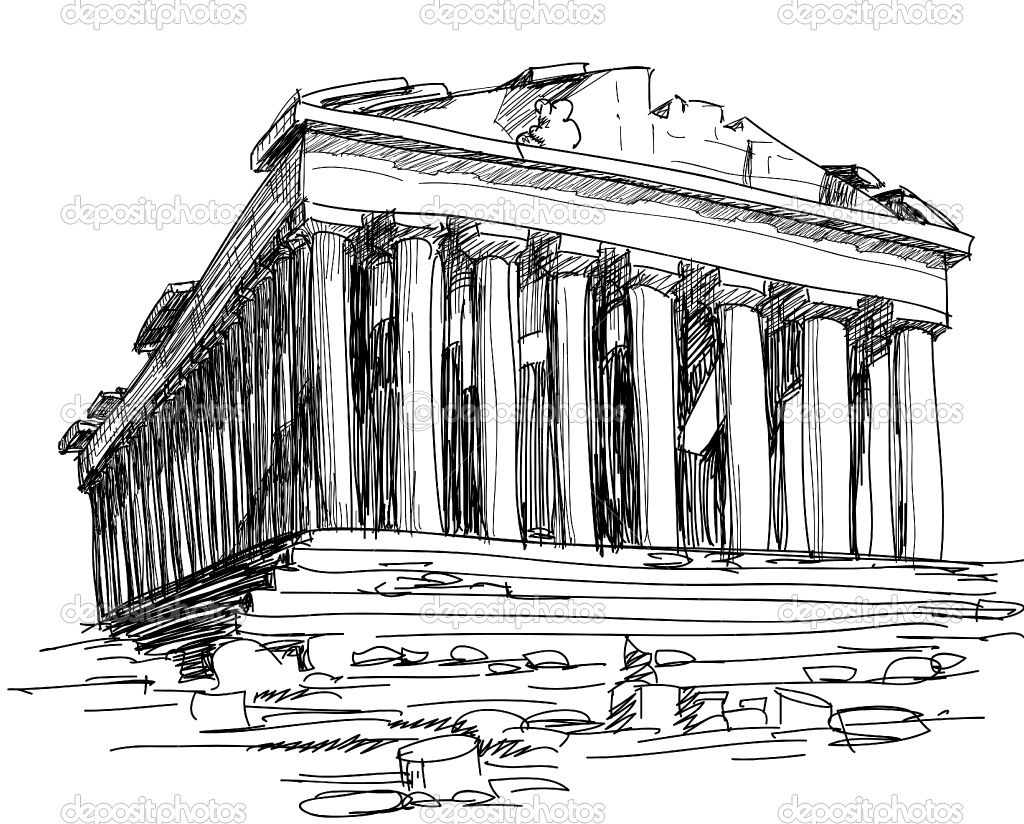 Parthenon Colouring Pages Greece Drawing Parthenon Sketches