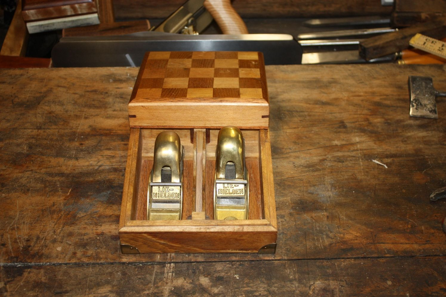 Lie Nielsen No 102 103 Block Plane Set In User Made Box How To Make Box Woodworking Tools Chess Board