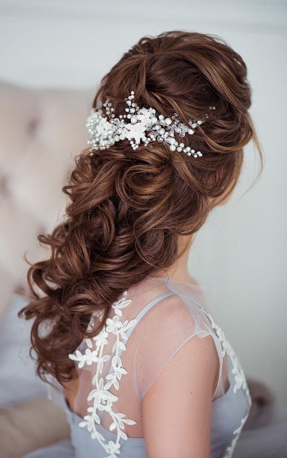 Bridal hair vine, silver hair vine, crystal hair vine ...
