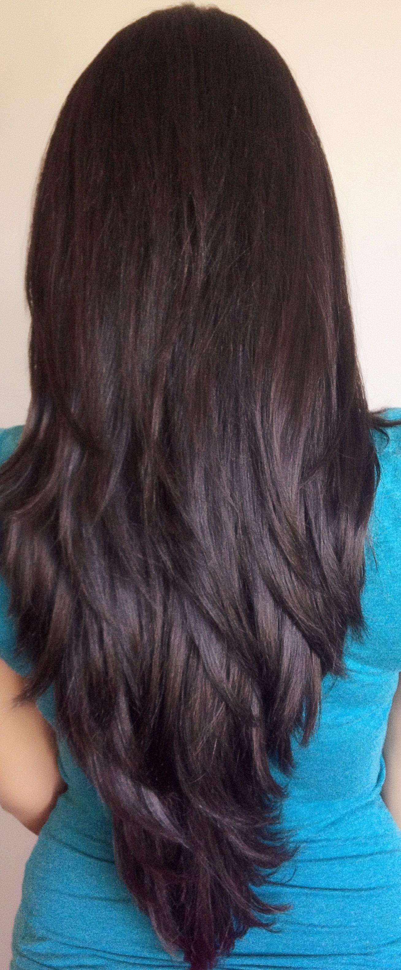 V Cut Long Layered Haircuts Back View Google Search Beauty