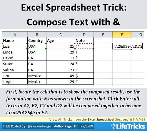 Excel Spreadsheet - Excel Spreadsheet Trick Compose Text with - shared spreadsheet