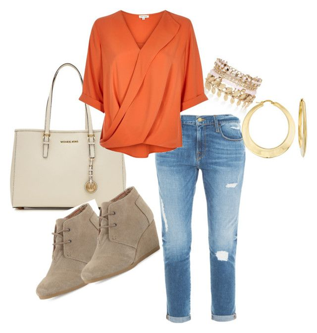 """""""Orange Blouse"""" by aishaamin25 ❤ liked on Polyvore featuring Frame Denim, River Island, MICHAEL Michael Kors, TOMS, Ross-Simons, women's clothing, women, female, woman and misses"""