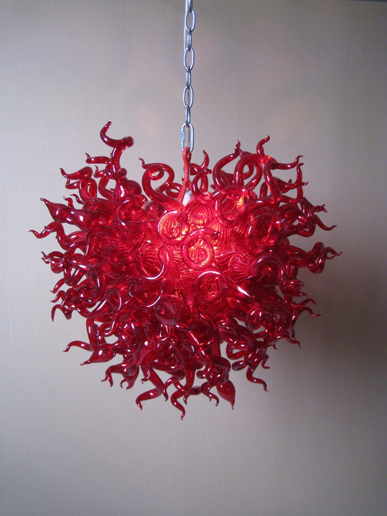 Beautiful red blown glass chandelier unique home decor pinterest beautiful red blown glass chandelier mozeypictures Image collections