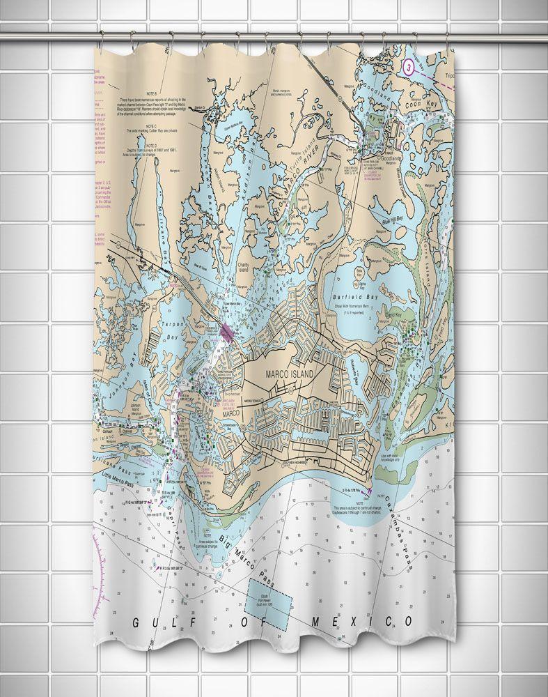 Fl Marco Island Fl Nautical Chart Shower Curtain Nautical