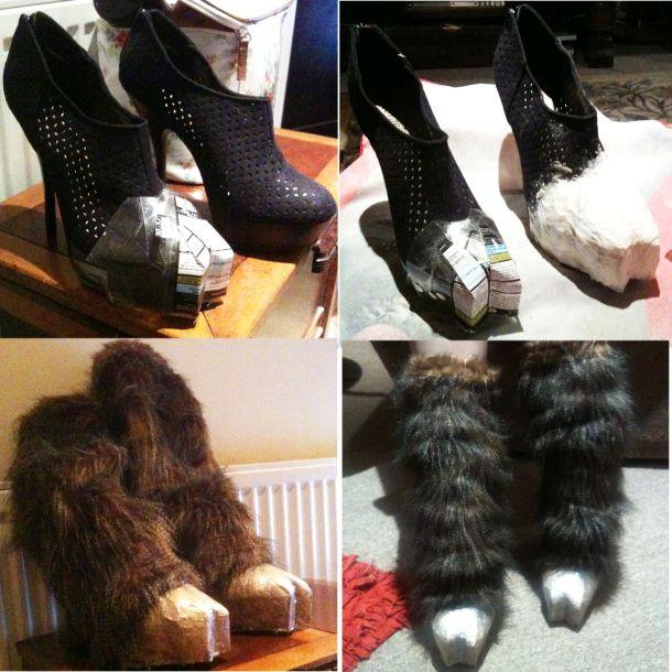 DIY horse or demon costume hooves