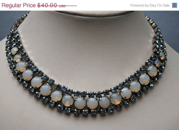 Vintage Blue Rhinestone and  Moon Stone Collar necklace on Etsy, $36.00