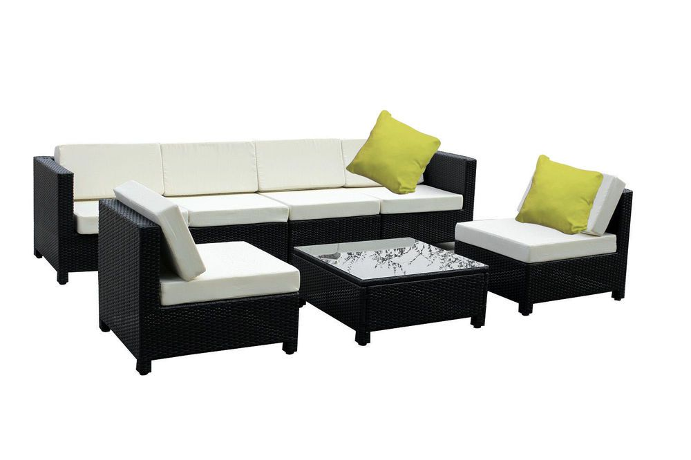 7 Pc Luxury Wicker Patio Sectional Indoor Outdoor Sofa Furniture Set White Creme Exacme