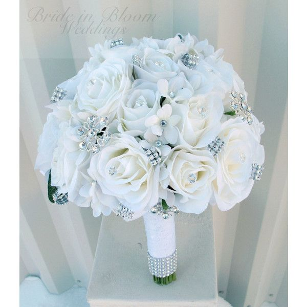 White rose Wedding Bouquet Silk bridal flowers rhinestone broach... (€155) ❤ liked on Polyvore featuring flowers