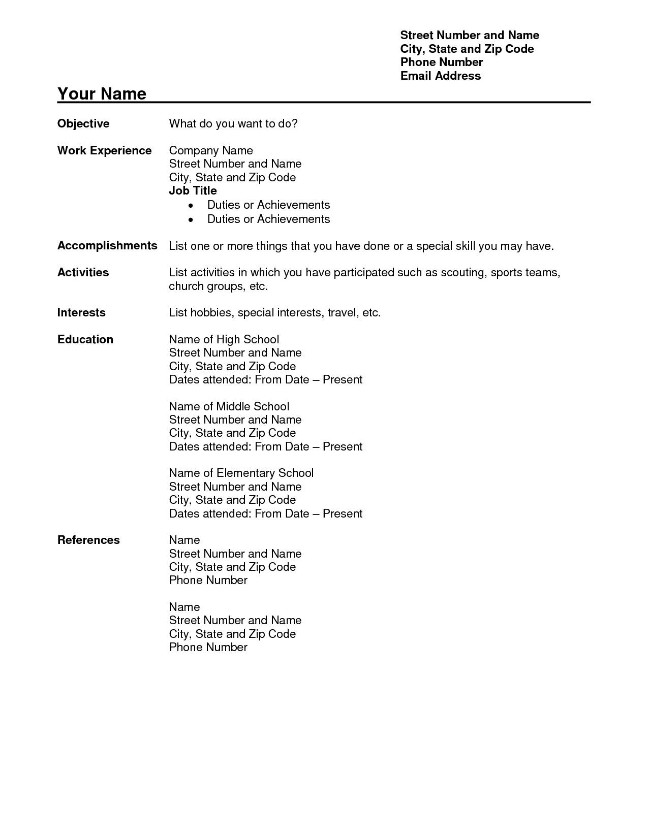 Resume Interests Examples Free Teacher Resume Templates Download Free Teacher Resume