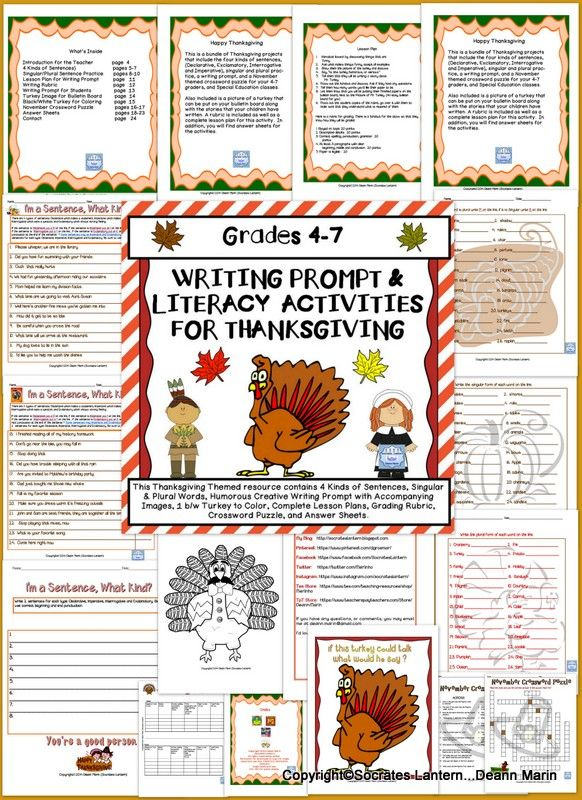 This is a bundle of Thanksgiving projects that include the four kinds of sentences, (Declarative, Exclamatory, Interrogative and Imperative), singular and plural practice, a writing prompt, and a November themed crossword puzzle for your 4-7 graders, and Special Education classes. Also included is a picture of a turkey that can be put on your bulletin board along with the stories that your children have written.