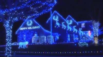 blue christmas lights in massive quantities on this home - Light Blue Christmas Lights