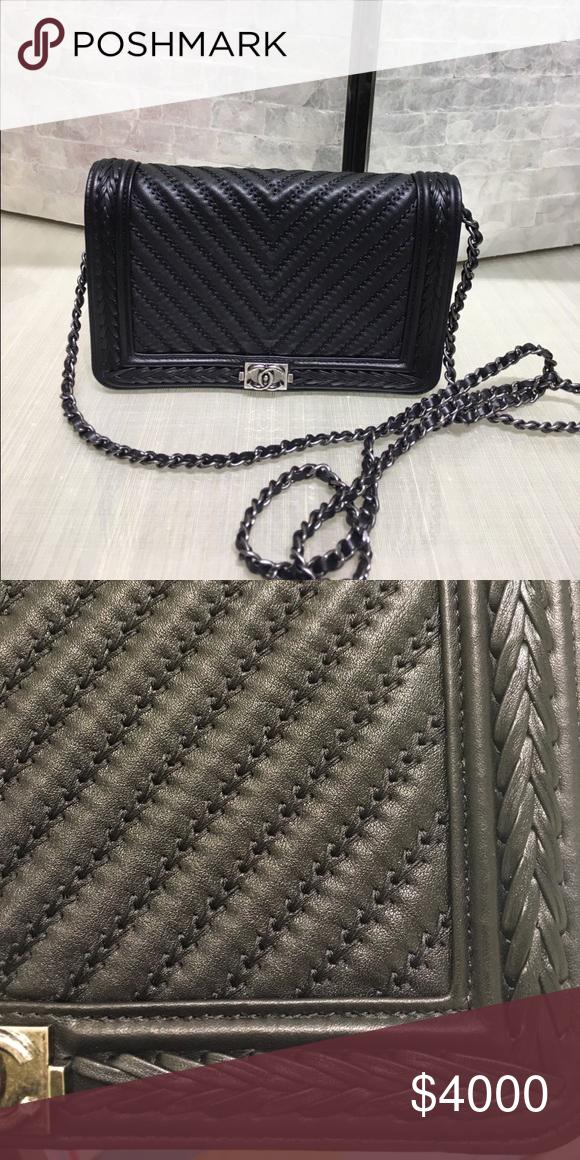 399f6737f649 RAREEEE!!! Chanel Black Chevron Braided WOC NEW   FULL BOX!! One of ...