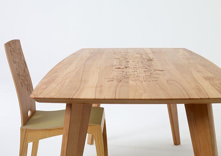 FINN Tisch / table / sixay 2013. Laser engraved graphic by Kata Szép.