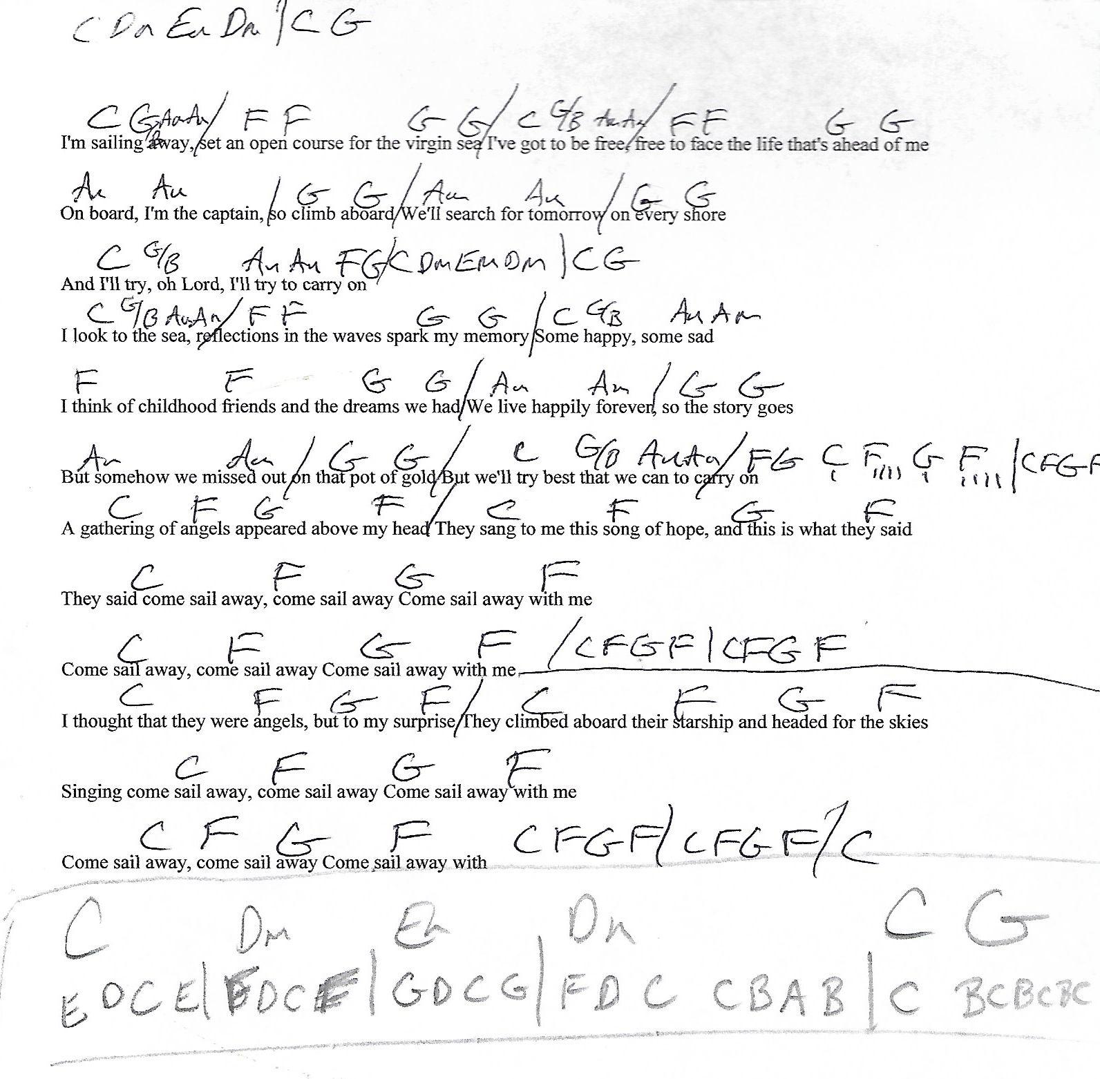 Sailing Away Styx Guitar Chord Chart With Lyrics Httpwww