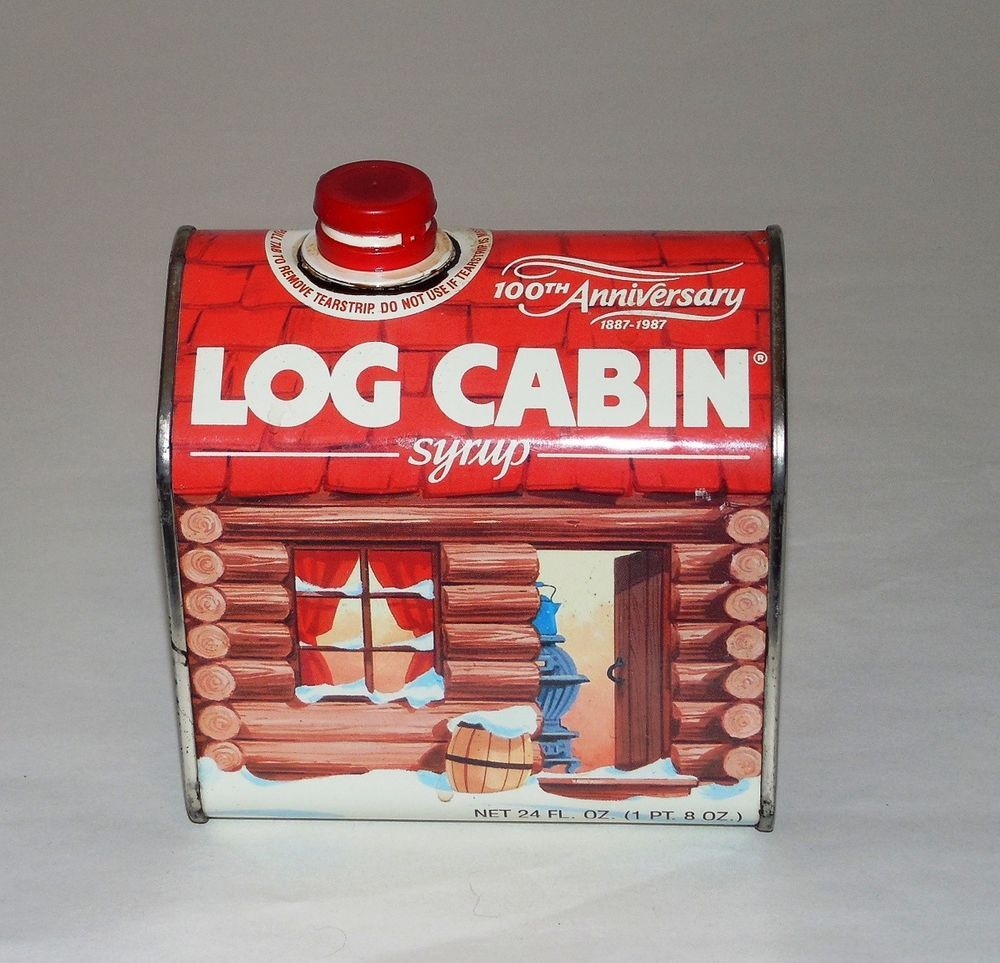 Log Cabin Pancake Syrup 100th Anniversary 1887 1987 Commemorative Empty Tin  #LogCabin