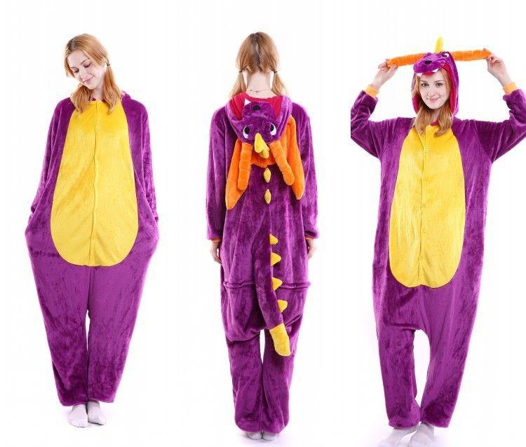 750d2f579b kigurumi purple Dragon onesies animal pajamas for adults